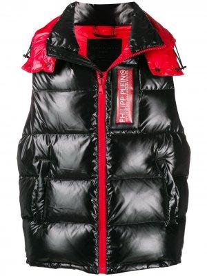 Блестящий дутый жилет 20th Anniversary Philipp Plein. Цвет: черный