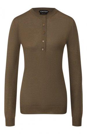 Пуловер из смеси кашемира и шелка Tom Ford. Цвет: хаки