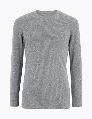 Термо топ с длинным рукавом средней степени теплоты M&S Collection. Цвет: серый