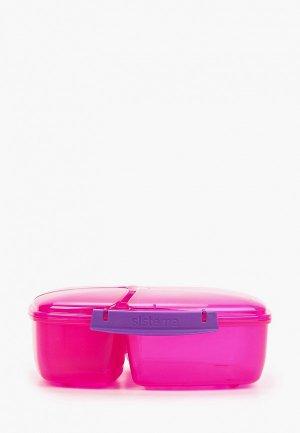Ланчбокс Sistema трехсекционный с баночкой Lunch, 2 л. Цвет: розовый