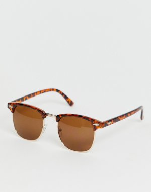 Черепаховые солнцезащитные очки в ретро-оправе -Коричневый SVNX