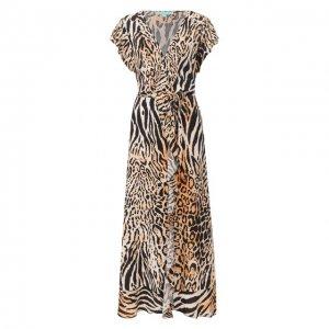 Платье из вискозы Melissa Odabash. Цвет: коричневый