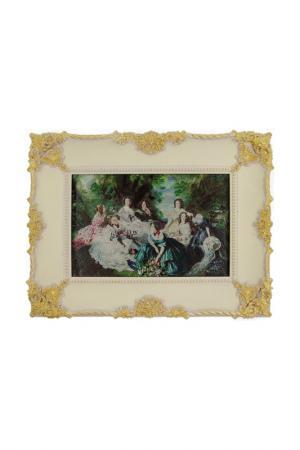 Картина Дамы на пикнике ГЛАСАР. Цвет: белый, золотой, серый, зеленый