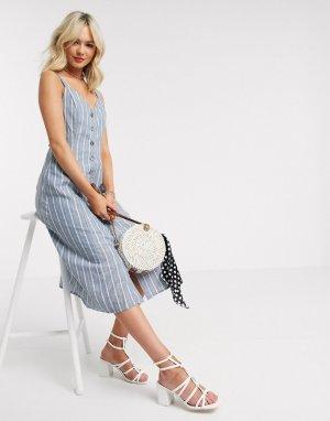 Бело-голубое платье миди в полоску на пуговицах -Синий Gilli