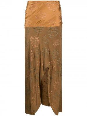 Юбка миди 1990-х годов с разрезом спереди Romeo Gigli Pre-Owned. Цвет: нейтральные цвета