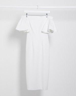 Белое платье миди с открытыми плечами и оборками на рукавах -Белый AQAQ