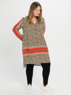 Блузка-туника из вискозы SAMOON Gerry Weber. Цвет: light tannin brown pattern