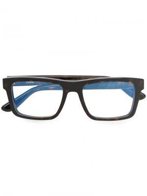 Очки с квадратной оправой Saint Laurent Eyewear. Цвет: коричневый