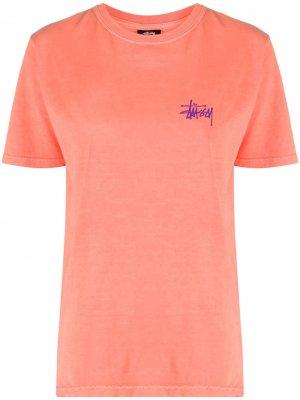 Logo-print crew neck T-Shirt Stussy. Цвет: оранжевый