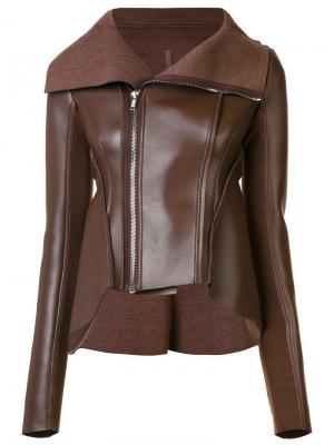 Кожаная куртка с асимметричной молнией Rick Owens Lilies. Цвет: коричневый