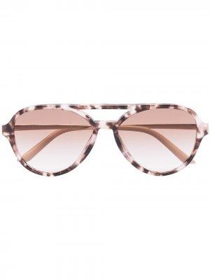 Солнцезащитные очки-авиаторы черепаховой расцветки Prada Eyewear. Цвет: фиолетовый
