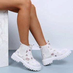 Ботинки челси Рваный вязаный SHEIN. Цвет: белый