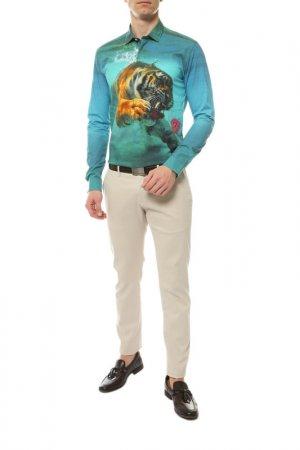 Рубашка Frankie Morello. Цвет: бирюзовый, голубой, тигровый п