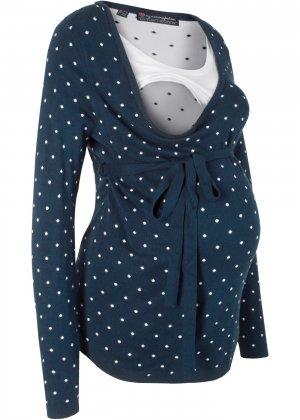 Пуловер для будущих и кормящих мам bonprix. Цвет: синий