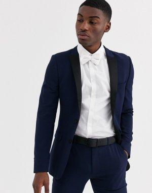 Темно-синий супероблегающий пиджак-смокинг ASOS DESIGN