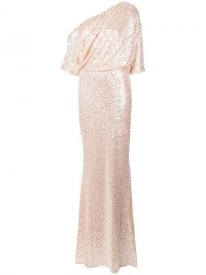 Платье в пол с открытыми плечами Badgley Mischka. Цвет: бежевый