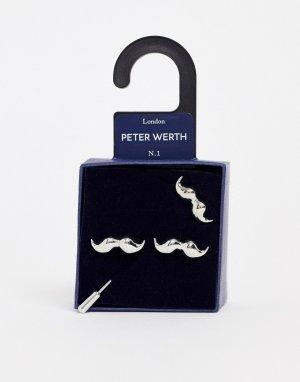Набор с запонками и булавкой для галстука -Золотой Peter Werth