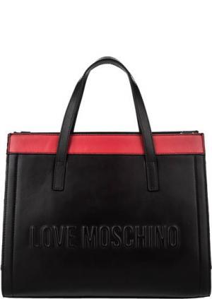 Сумка с двумя отделами и короткими ручками Love Moschino. Цвет: черный