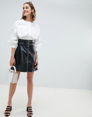 Байкерская юбка из искусственной кожи с двумя пряжками и молнией Lost Ink. Цвет: черный