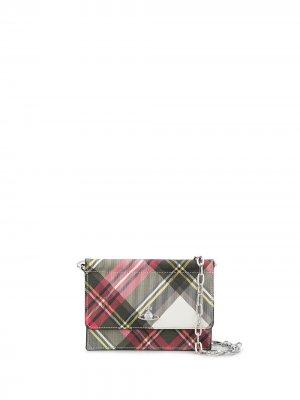 Мини-сумка в клетку тартан с декором Orb Vivienne Westwood. Цвет: красный