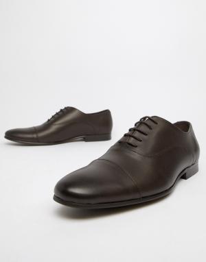 Коричневые кожаные оксфорды со вставкой на носке Flounder-Коричневый Office