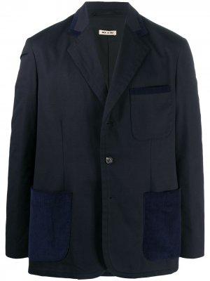 Пиджак с фактурной отделкой Marni. Цвет: синий