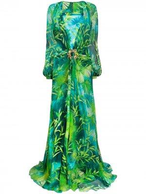 Длинное платье с принтом Jungle Versace. Цвет: зеленый