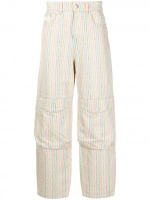 Широкие джинсы с графичным принтом Gcds. Цвет: нейтральные цвета