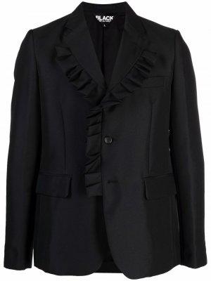 Однобортный блейзер с оборками Black Comme Des Garçons. Цвет: черный
