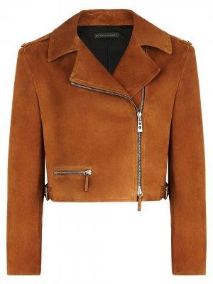 Укороченная байкерская куртка Giuseppe Zanotti. Цвет: коричневый