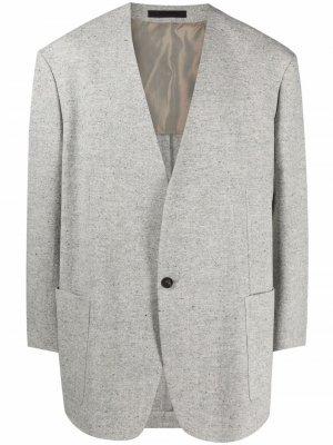Однобортный пиджак с V-образным вырезом Fear Of God. Цвет: серый
