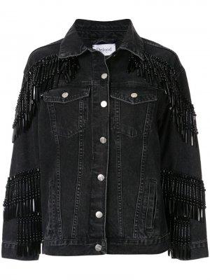 Джинсовая куртка с бахромой из бусин Dalood