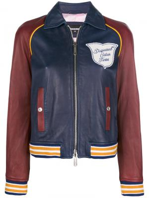 Куртка-бомбер дизайна колор-блок Dsquared2. Цвет: синий