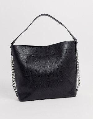 Большая сумка со змеиным рисунком и цепочкой -Черный ASOS DESIGN