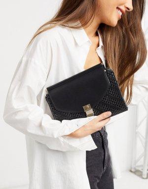 Черный клатч с плетенной фактурой и ремешком-цепочкой Penelope Fiorelli