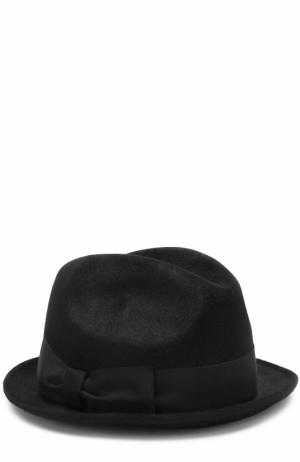 Фетровая шляпа с лентой Giorgio Armani. Цвет: черный