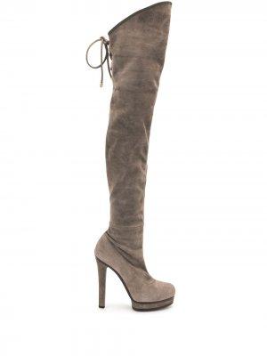 Ботфорты на каблуке Gucci Pre-Owned. Цвет: серый