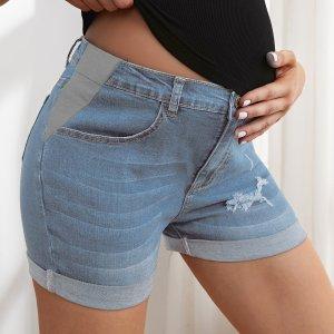 Джинсовые рваные шорты для беременных SHEIN. Цвет: легко-синий