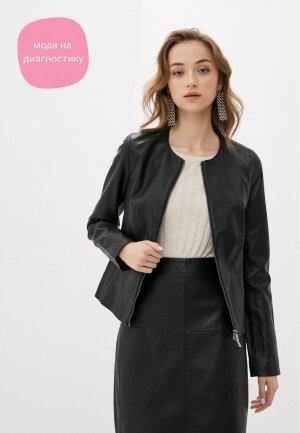 Куртка кожаная VASSA&Co. PIN CODE. Цвет: черный