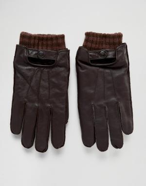 Кожаные перчатки Boardmans. Цвет: коричневый