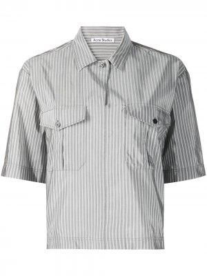 Полосатая рубашка с короткими рукавами Acne Studios. Цвет: серый