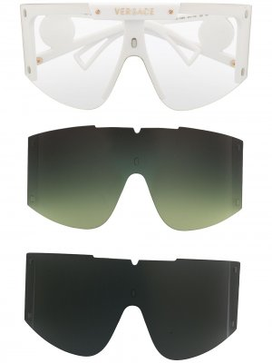 Солнцезащитные очки со сменными линзами и декором Medusa Versace Eyewear. Цвет: белый