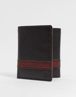 Кожаный кошелек-бумажник с тройным сложением -Коричневый цвет Silver Street