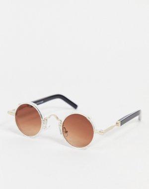 Круглые солнцезащитные очки в стиле унисекс с коричневыми линзами Euph 2-Прозрачный Spitfire