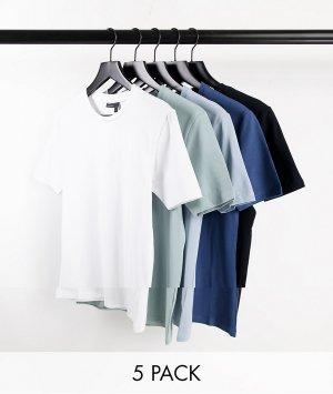 Комплект из 5 облегающих футболок органического хлопка с круглым вырезом -Multi ASOS DESIGN