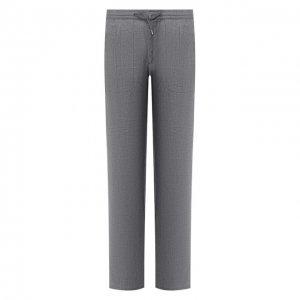 Льняные брюки Brioni. Цвет: серый