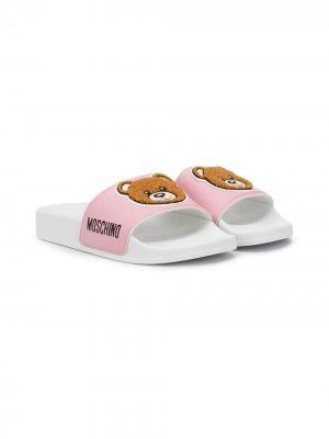 Шлепанцы Teddy Bear с логотипом Moschino Kids. Цвет: розовый