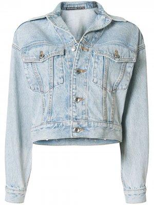Укороченная джинсовая куртка Alexander Wang. Цвет: синий