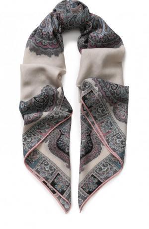Платок из смеси шерсти и шелка с принтом Michele Binda. Цвет: разноцветный