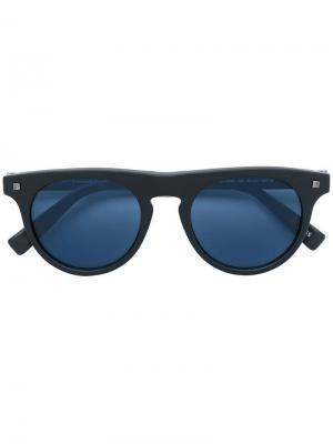 Солнцезащитные очки в круглой оправе с затемненными линзами Ermenegildo Zegna. Цвет: черный